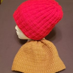 Red and Tan Hand Woven Beanies